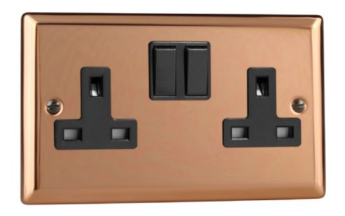 Varilight XY5B.CU Urban Polished Copper 2 Gang Double 13A Switched Plug Socket